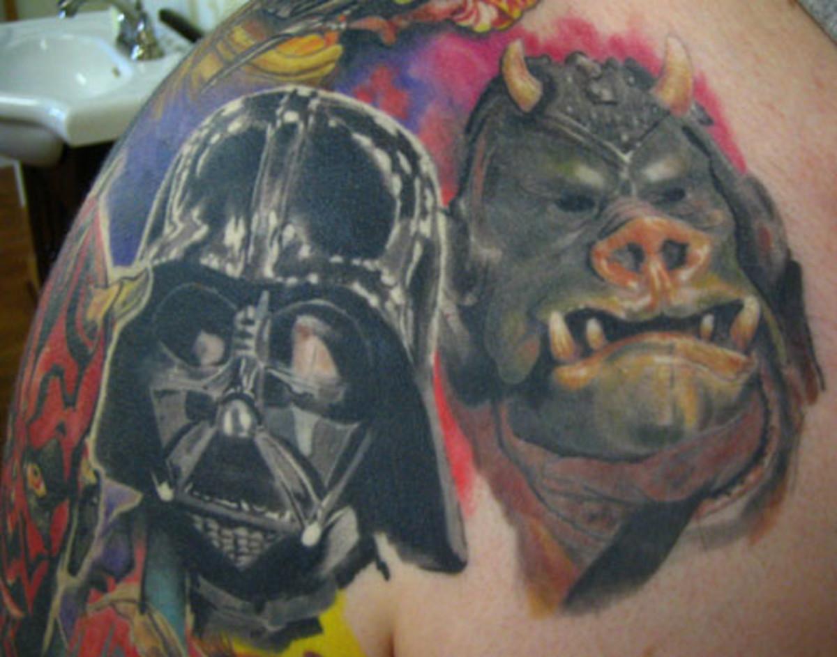 Darth Vader and Pig Guard tattoo