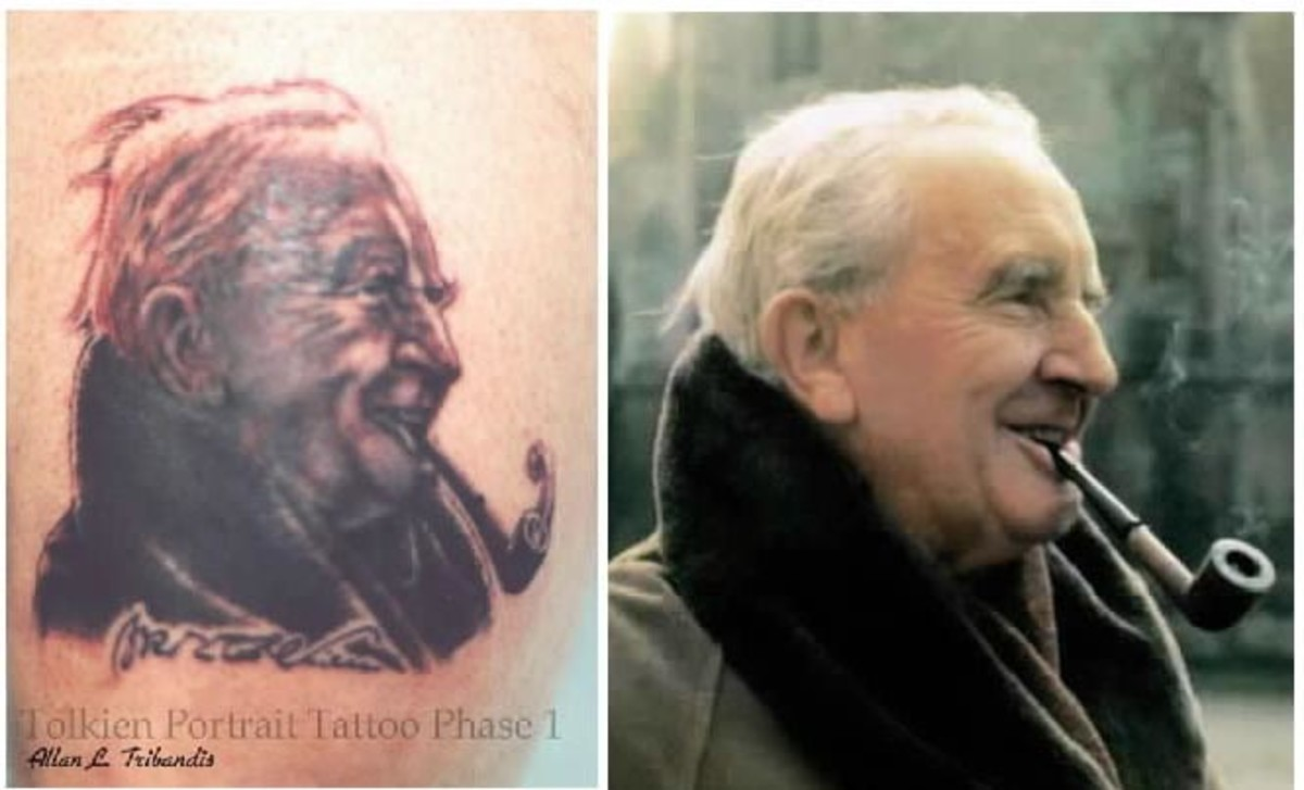 This tattoo is a portrait of Lord of the Rings Creator, J.R.R. Tolkien.