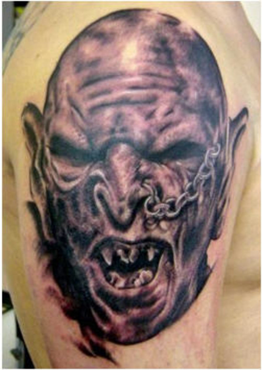 This orc tattoo is very detailed.