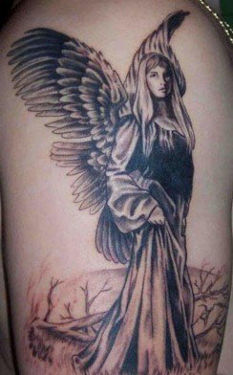 Tattoo of female angel walking