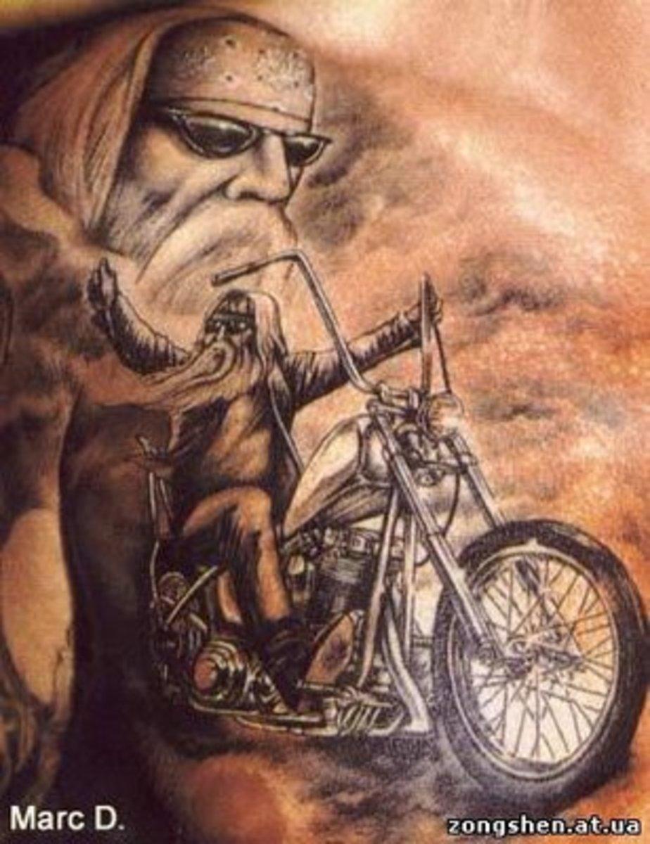 Cool tattoo biker.