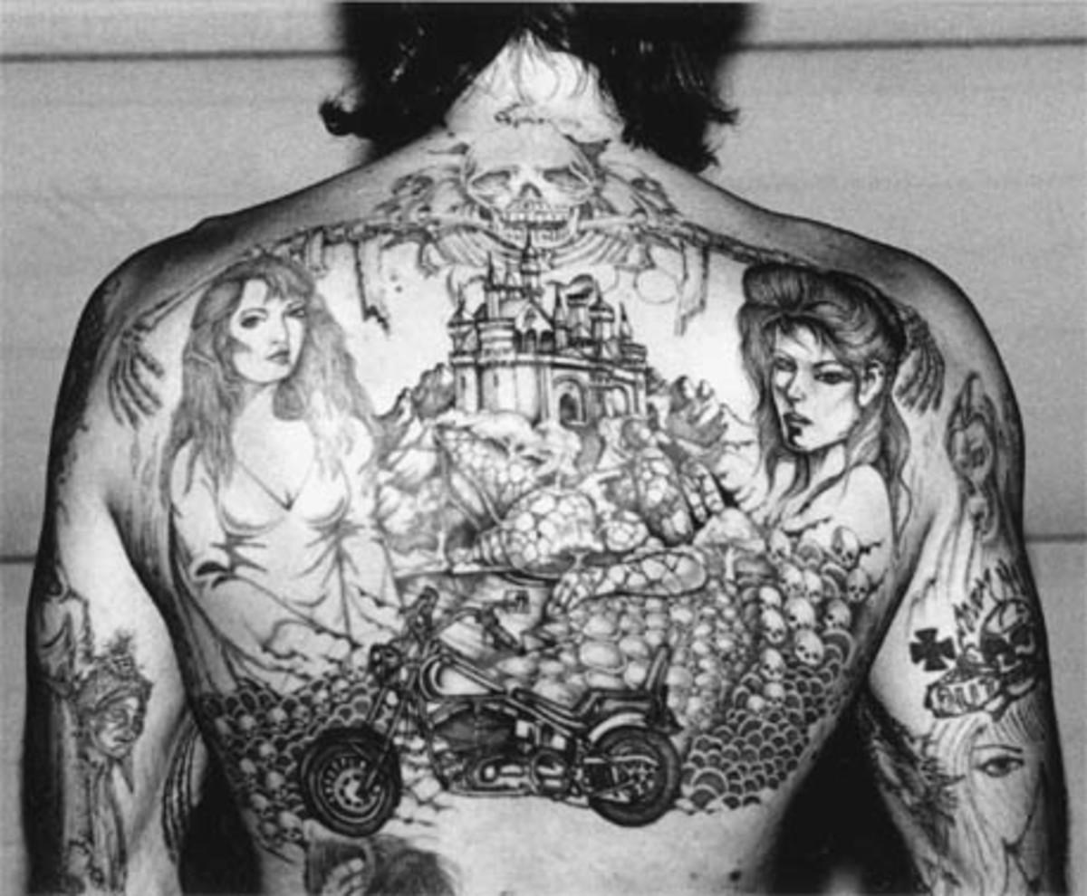 Tattoo story on a back.