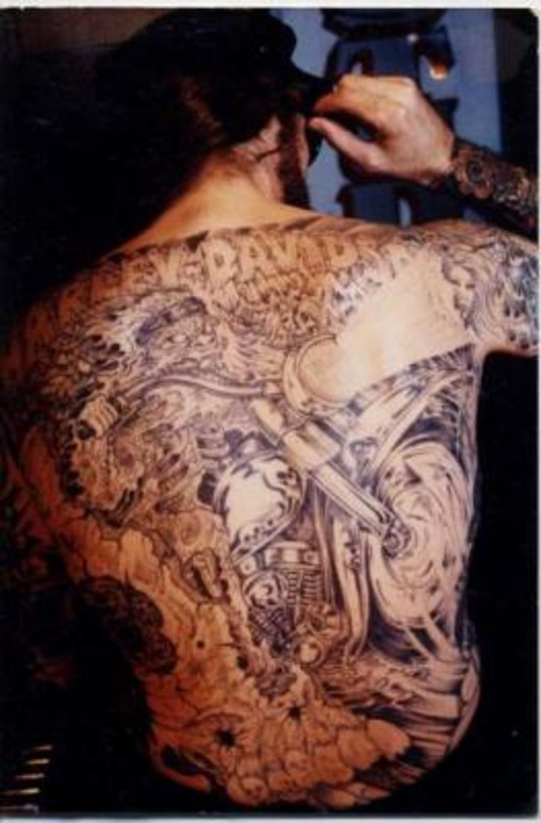 Full-back Harley-Davidson tattoo.
