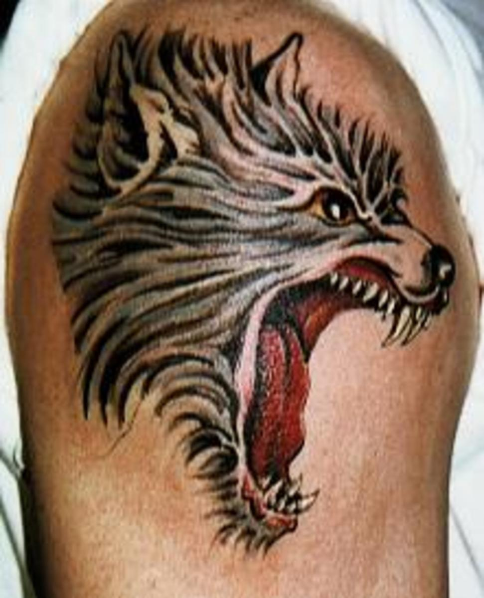 Ferocious wolf head tattoo design