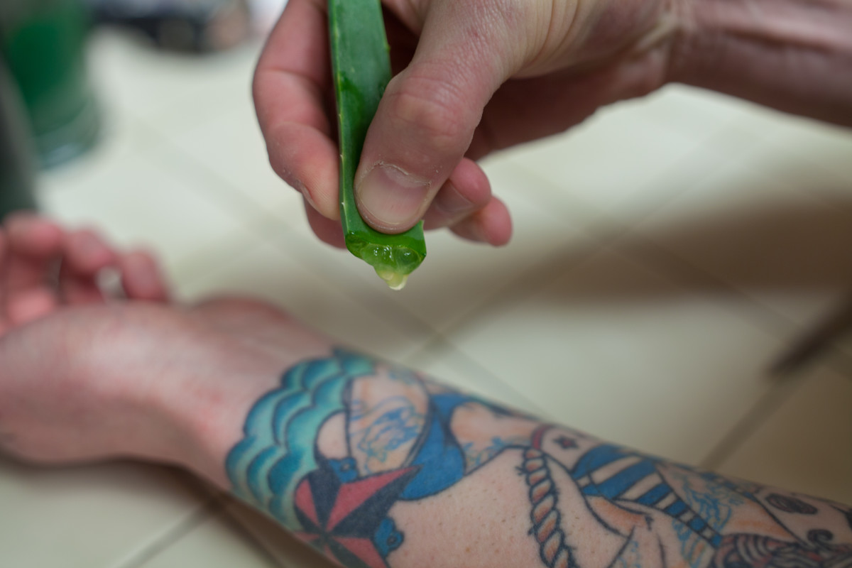 Step 2: Squeeze the aloe to release some gel.