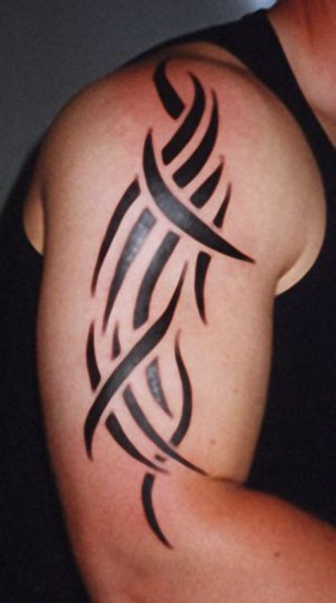 Tribal tattoo on bicep