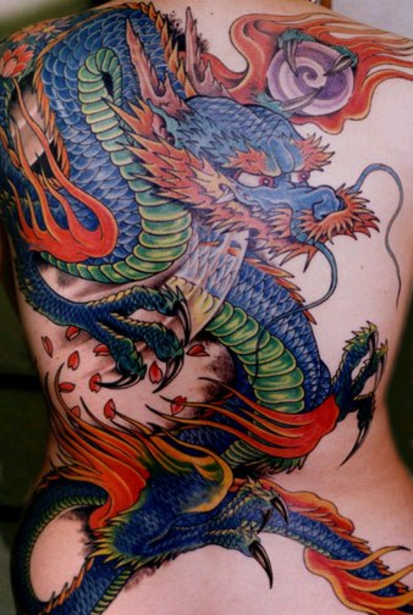 back dragon tattoos for women. Colorful full ack dragon