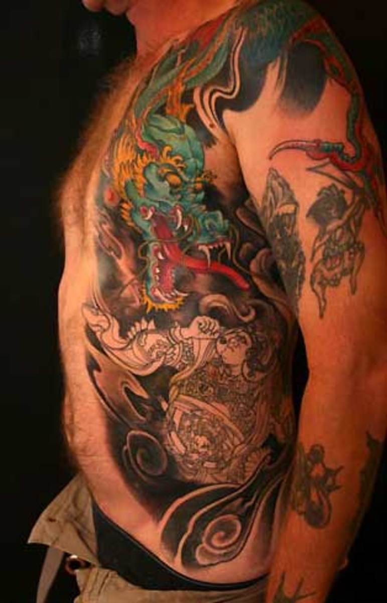 Fantasy Dragon Warrior Tattoo