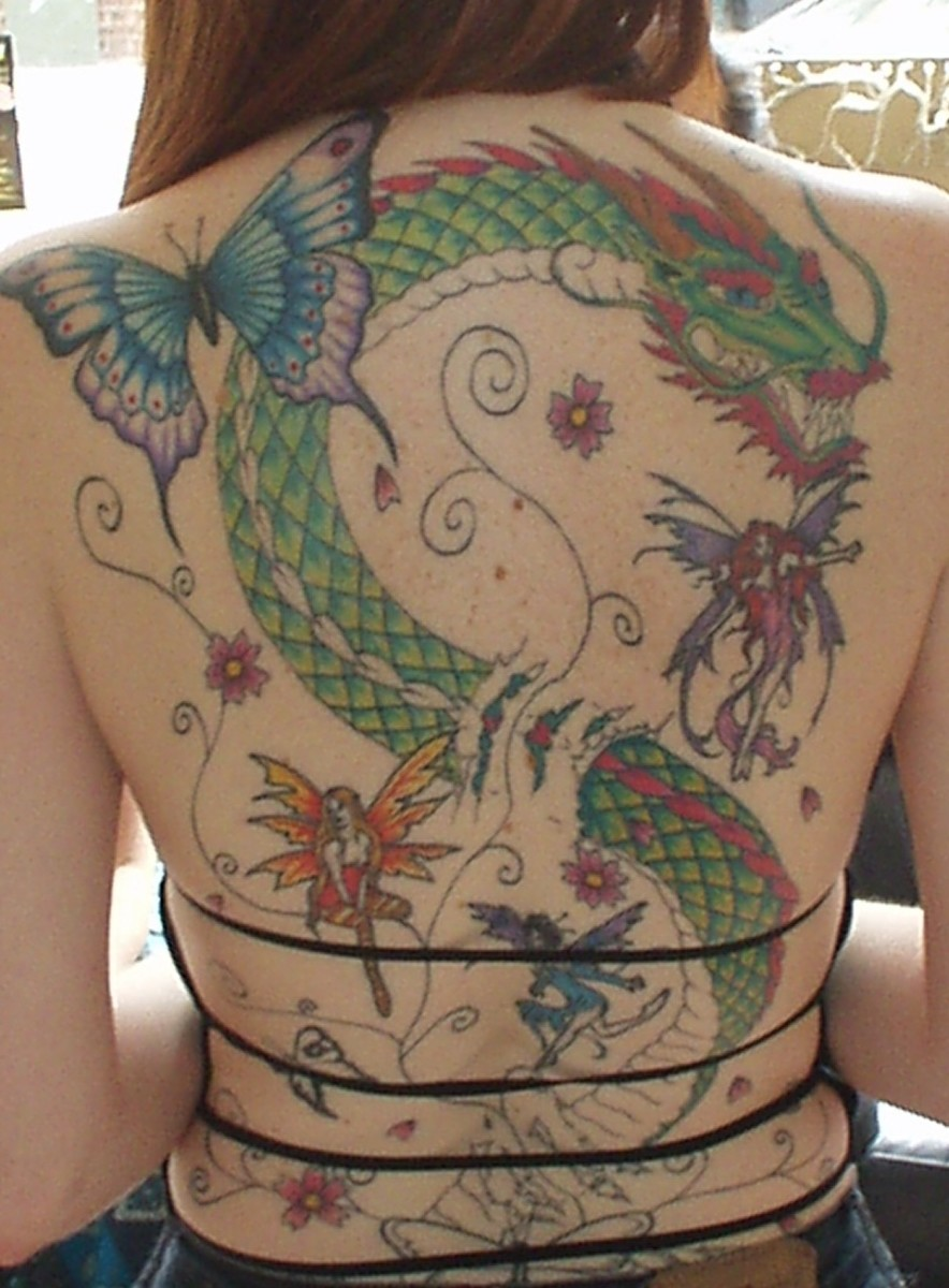 Fairy Butterfly Dragon Flower Tattoo