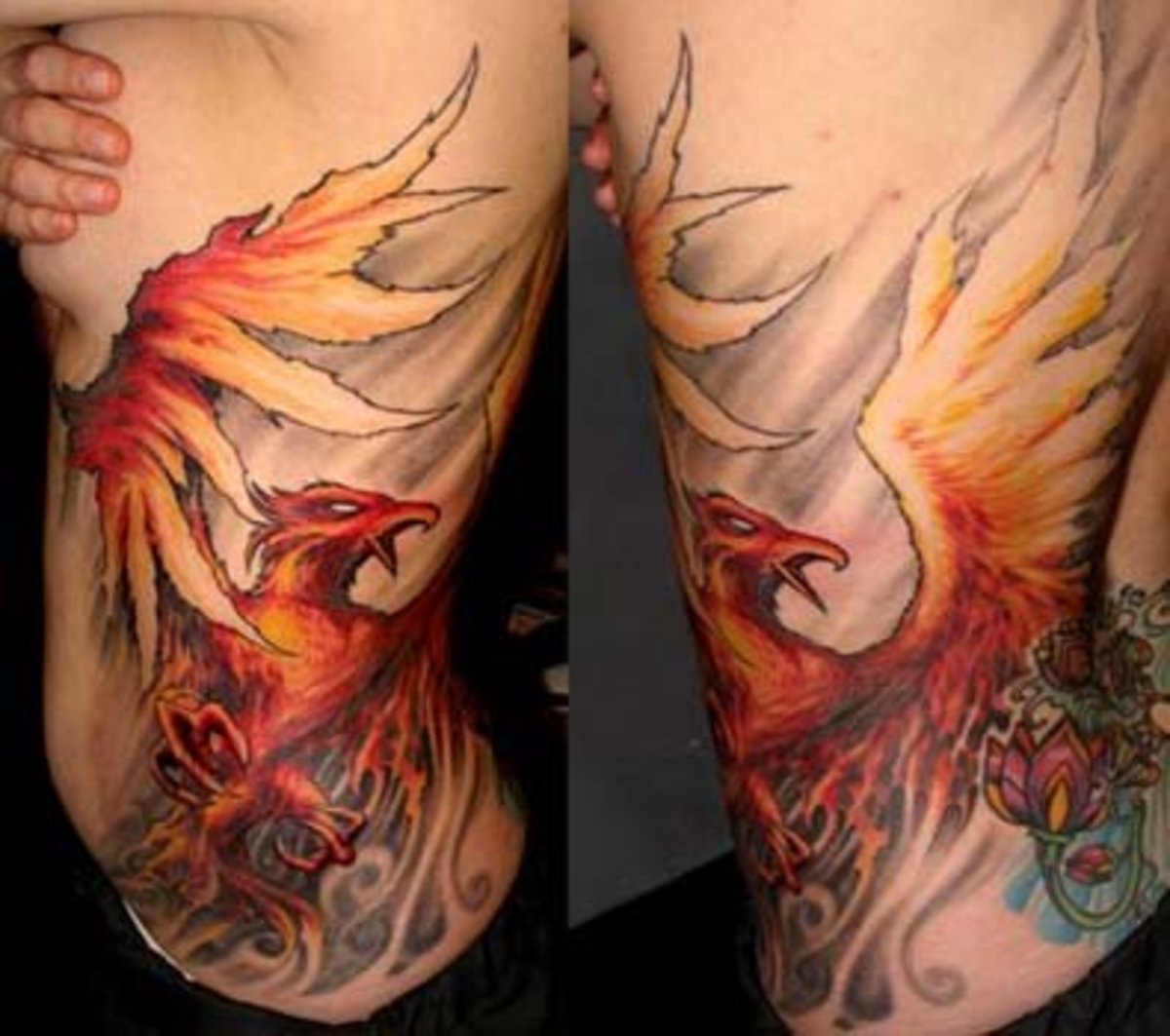 Amazing Tattoo Phoenix Design Photo on Woman's Side