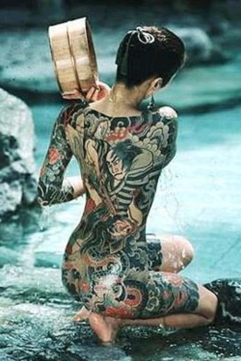 Traditional irezumi tattoo on a Japanese woman