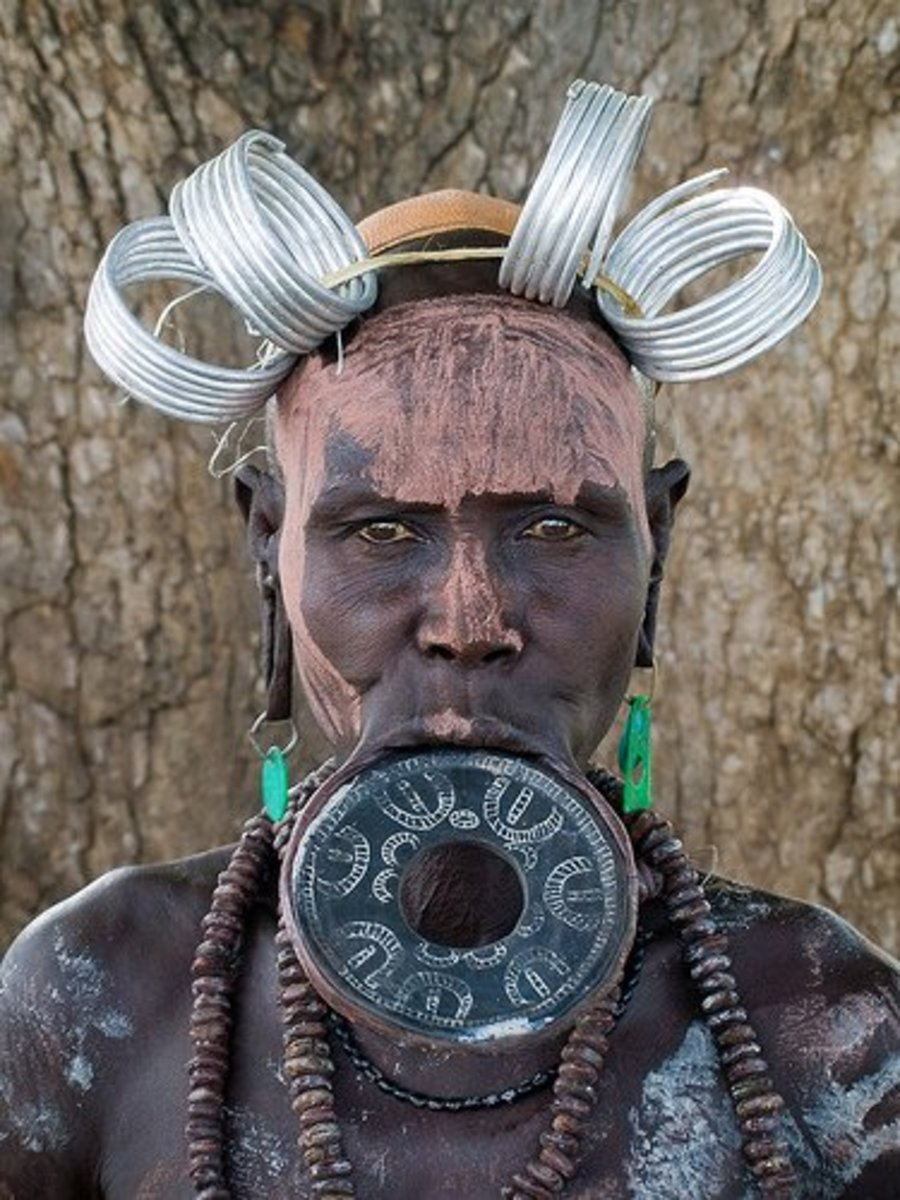 Traditional African Mursi Lip Plates