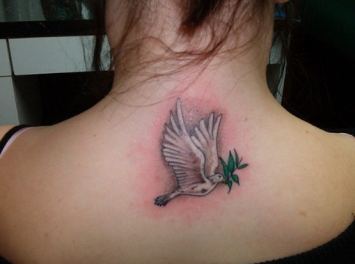 A Color Dove Tattoo on an Upper Back