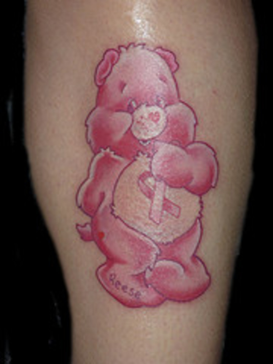 Care Bears with a twist - breast cancer awareness ribbon