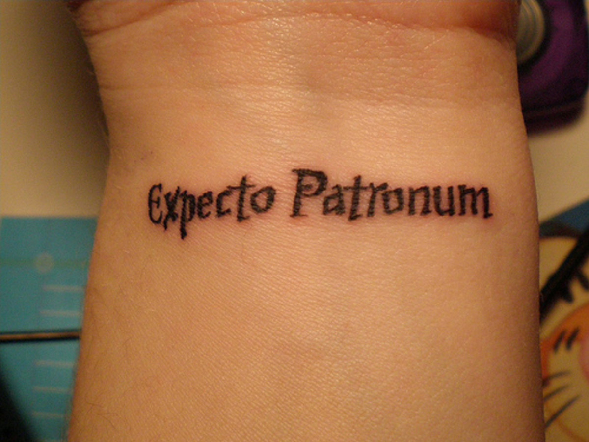 "Expecto Patronum, Latin for ""I await a protector"""
