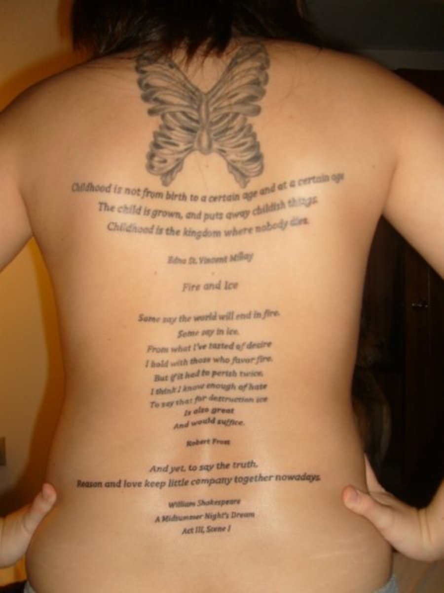 Poetry full back piece - now that's dedication!