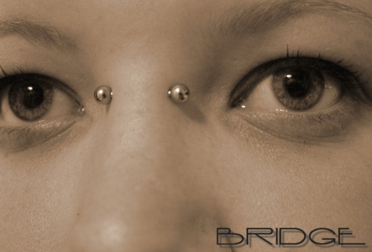 A bridge piercing travels through the skin at the bridge of the nose, between the eyes.
