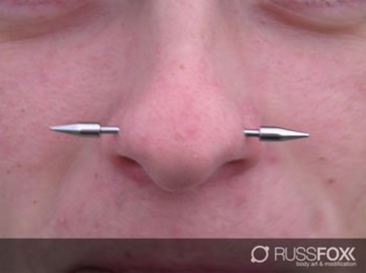 A nasallang combines two nostril piercings with a septum piercing.