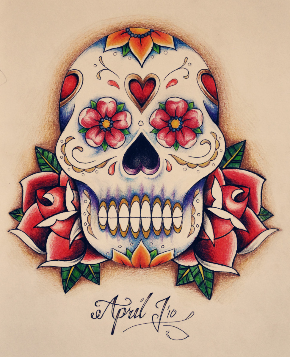 Beautiful sugar skull sketch by a woman for women.