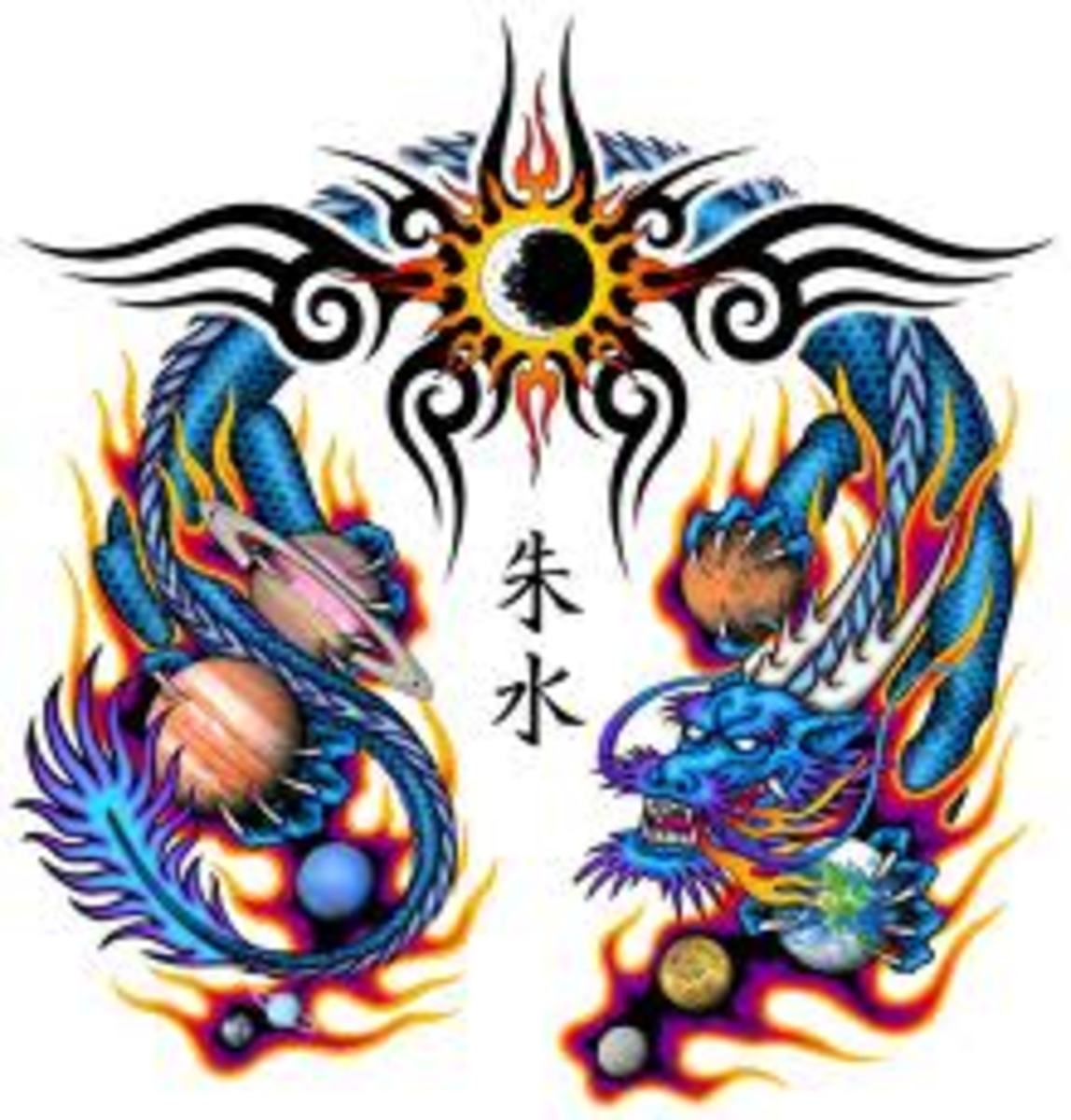 In this Chinese tattoo, the colors are extraordinary and brilliant. The sun can also be seen at top. As I mentioned before, the number nine is very important to the Chinese culture.