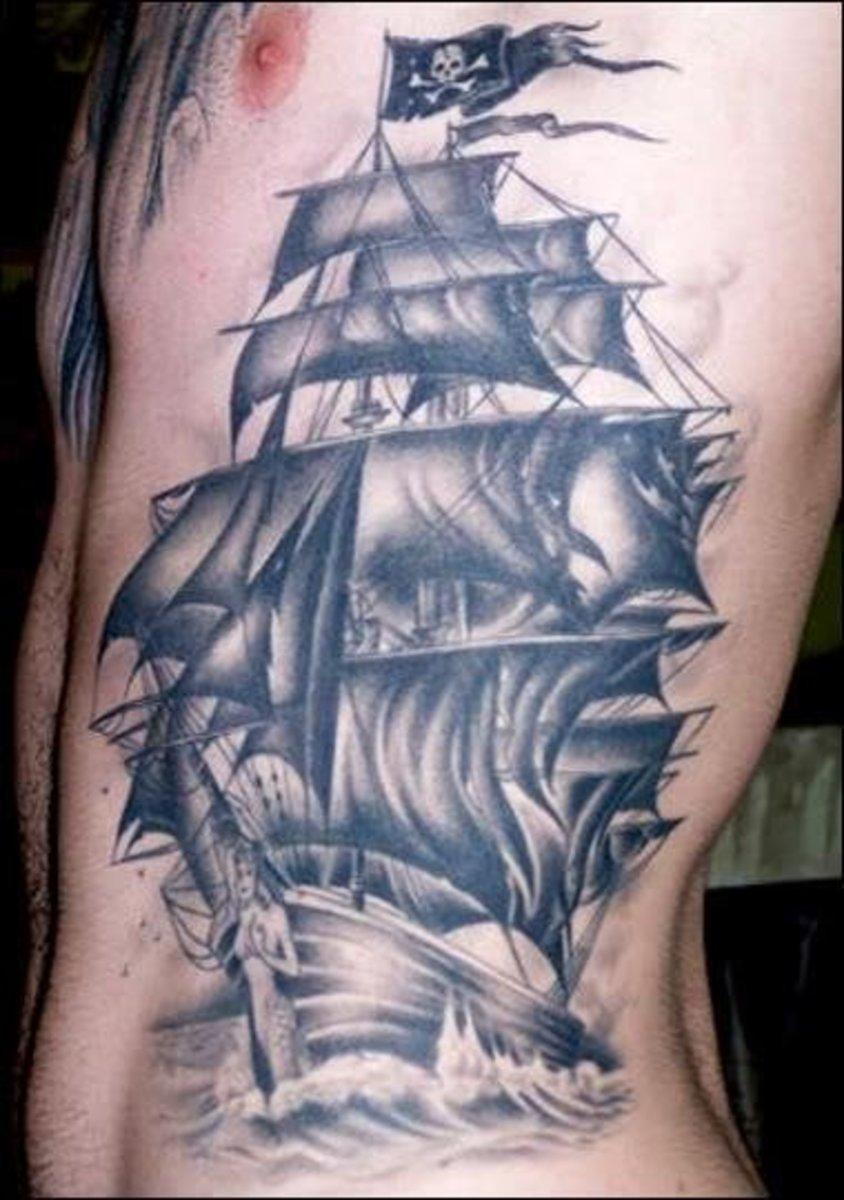 idei-dlya-tatuirovok - Морские татуировки - русалки, воробьи, корабли и пираты! -  - фото