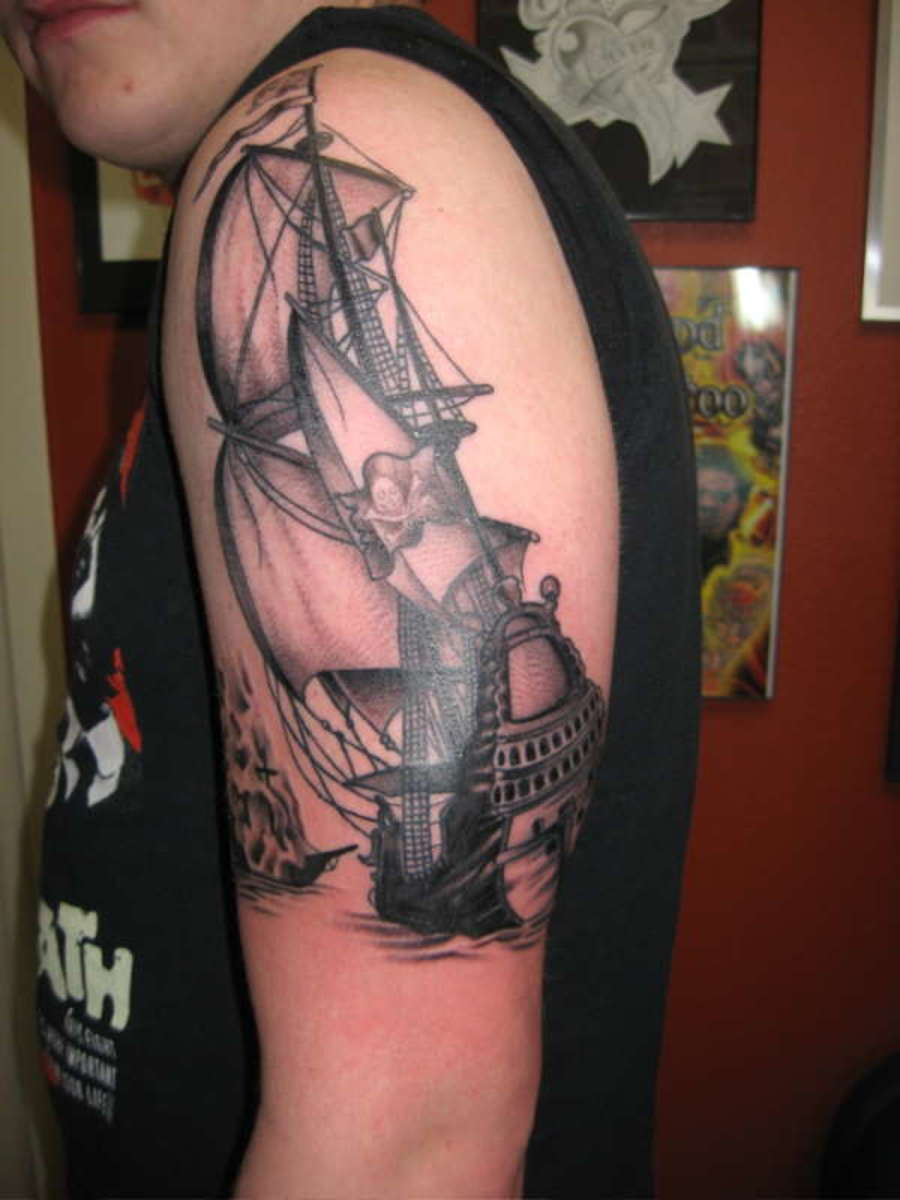 pirate ship shoulder tattoo
