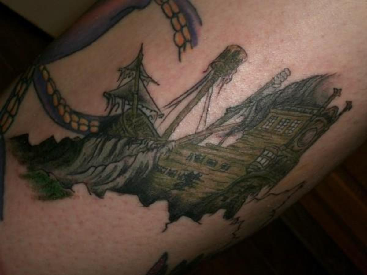 sunken pirate ship tattoo