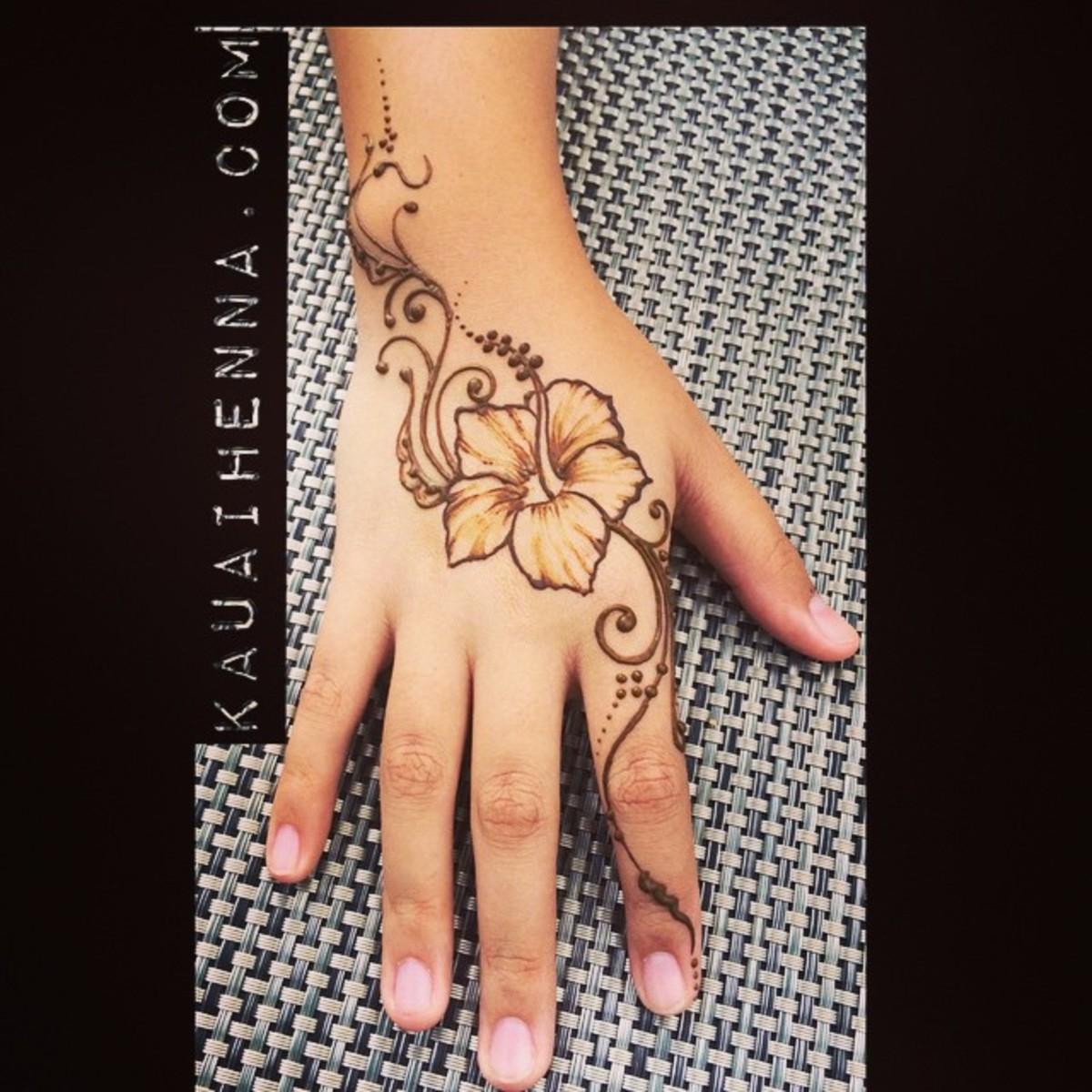 Henna hibiscus tattoo