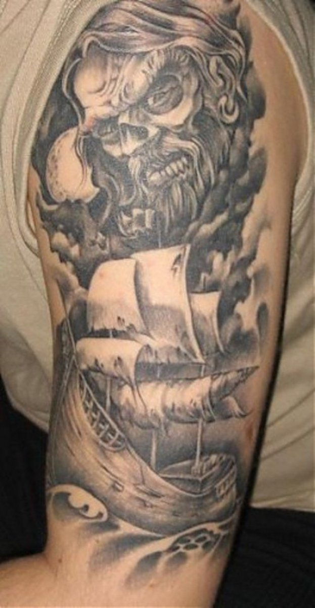 I love ship tattoos without color: This is a great example.