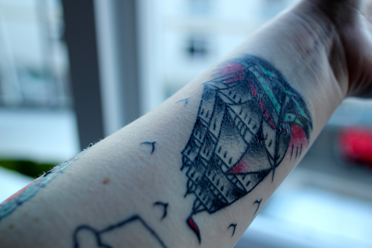 Abstract old-school ship tattoo.