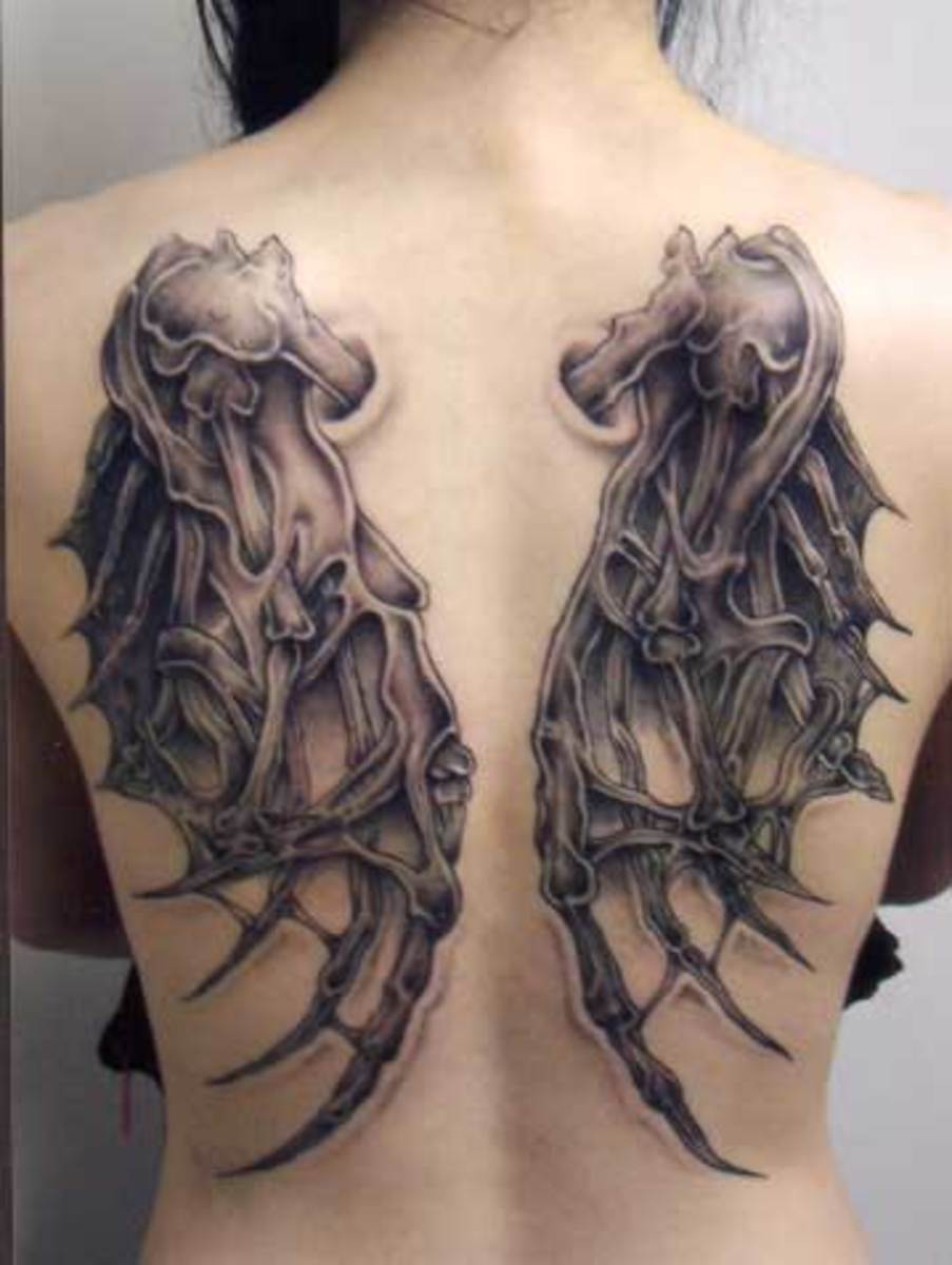Gothic Skeleton Wings Tattoo