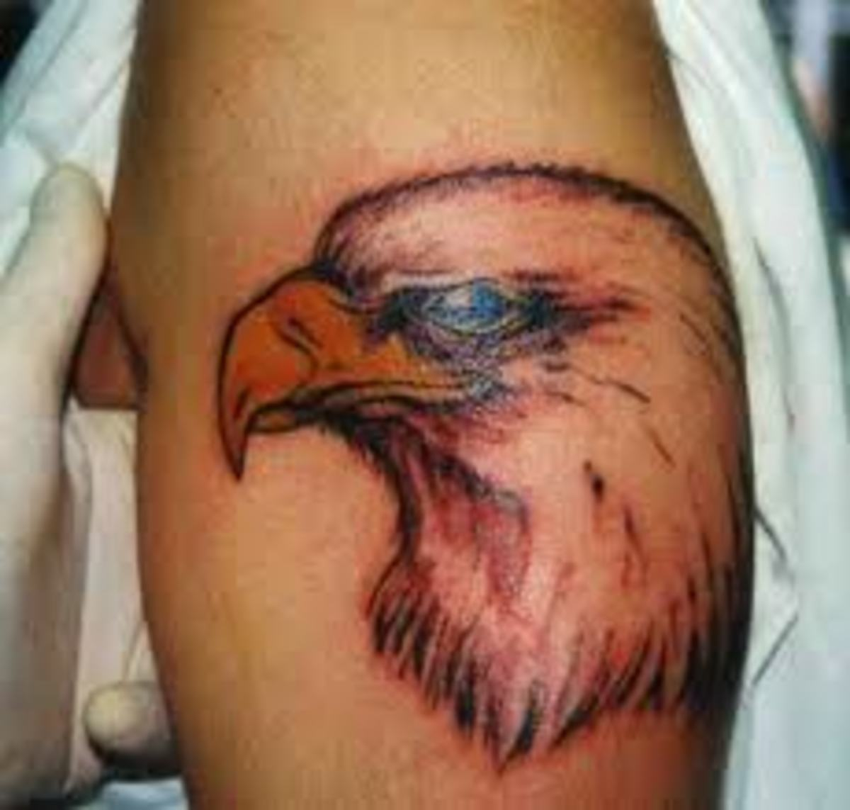 Eagle head tattoo on shoulder.