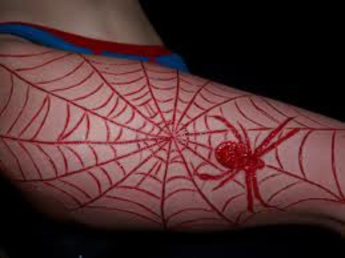 Red spider in red web