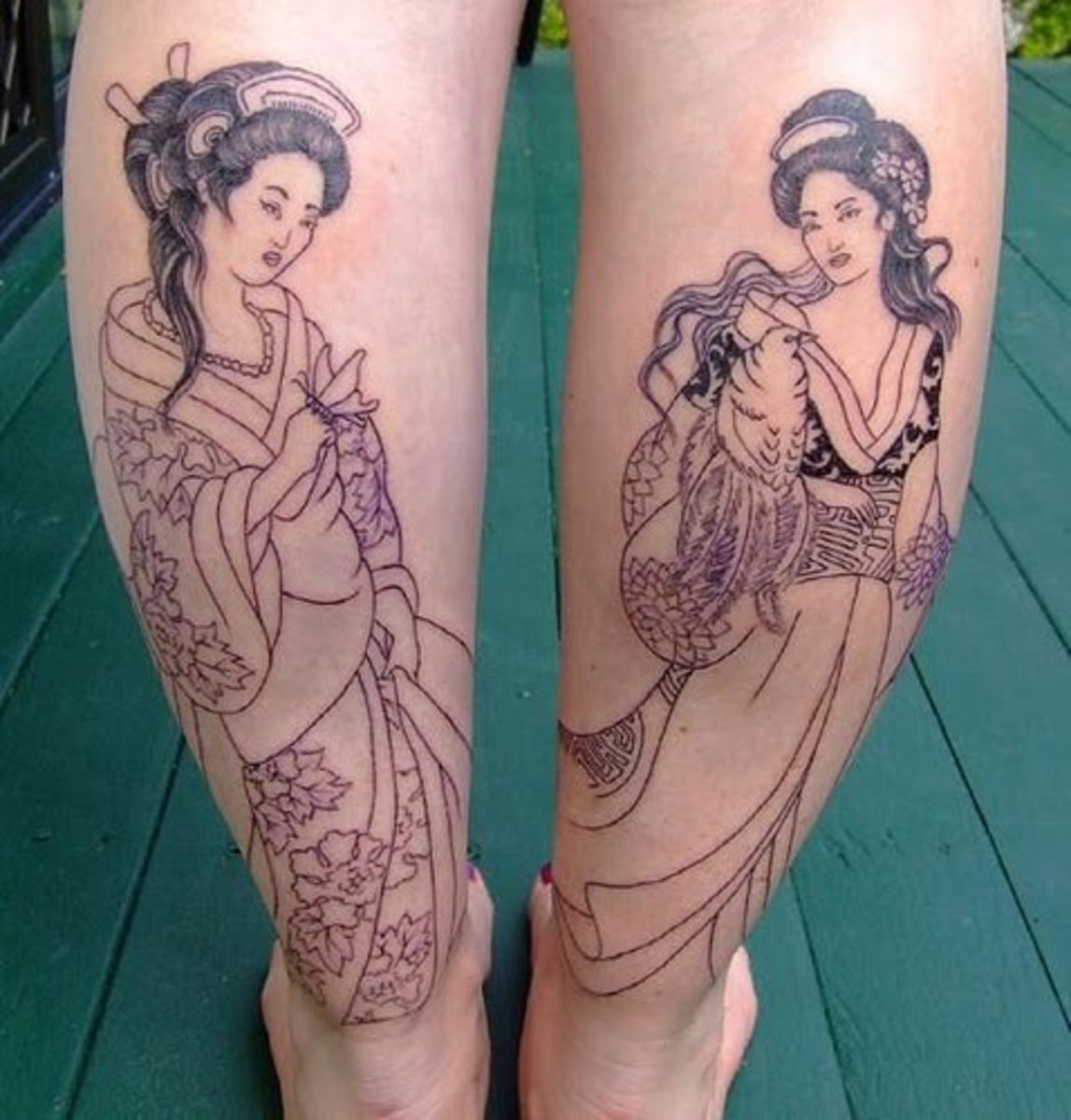 Calf geisha tattoo.
