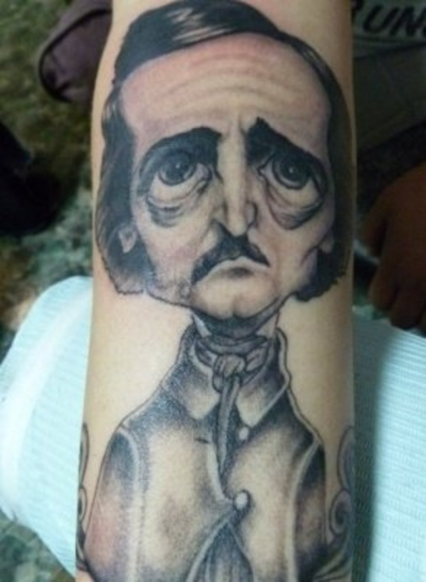 Portrait Caricature Tattoo of Edgar Allan Poe
