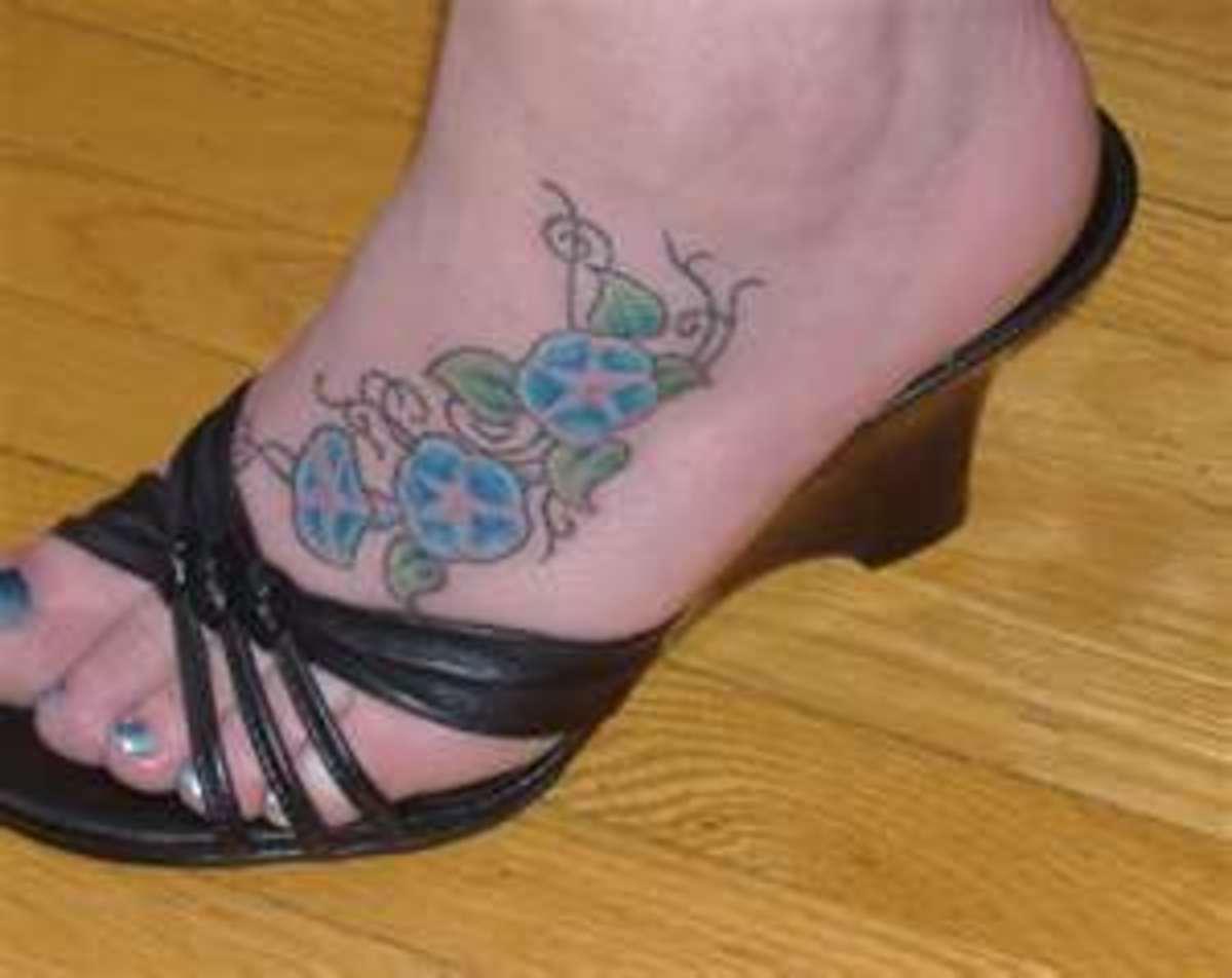 morning glory foot tattoo