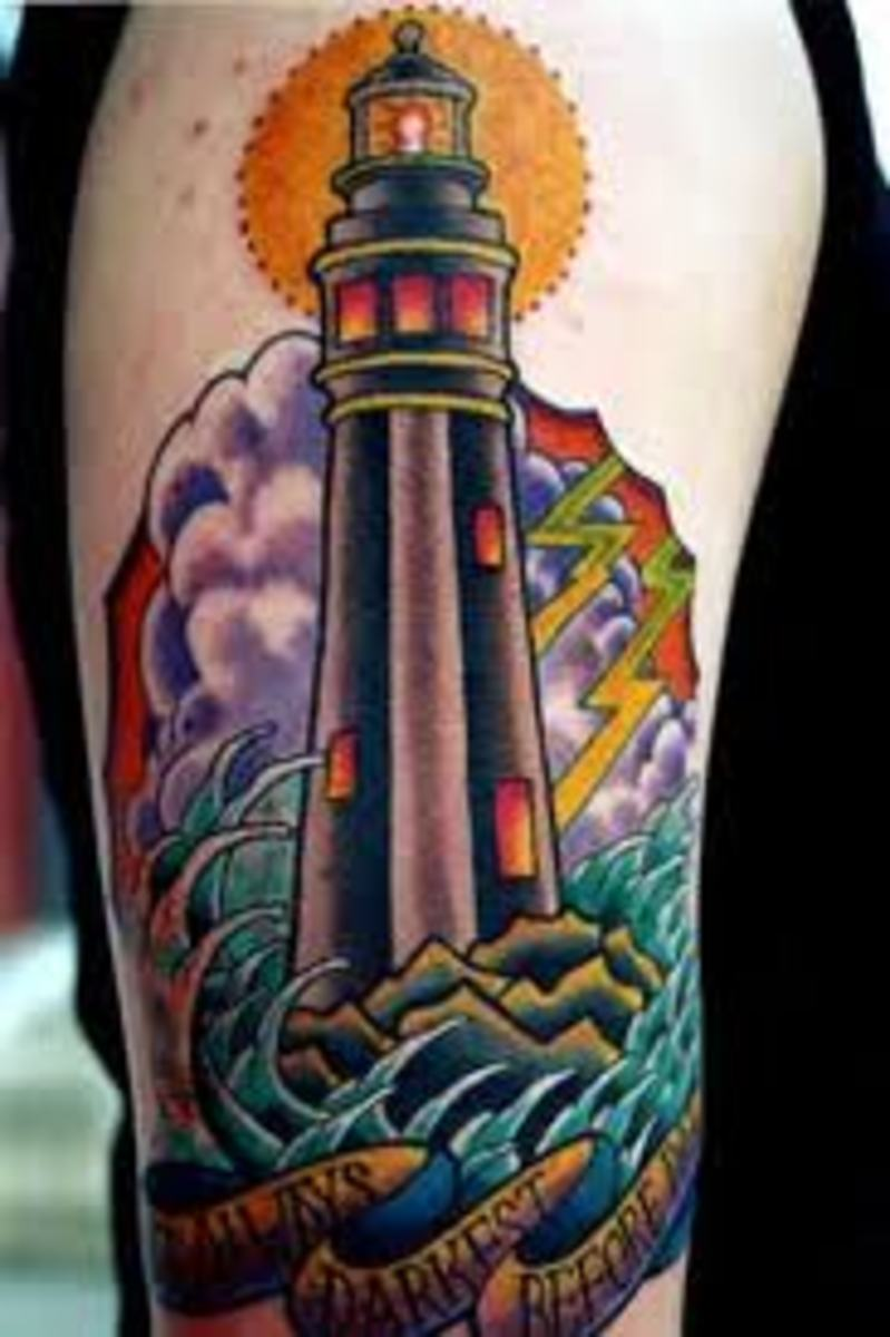 lighthouse tattoo designs ideas and meanings tatring. Black Bedroom Furniture Sets. Home Design Ideas