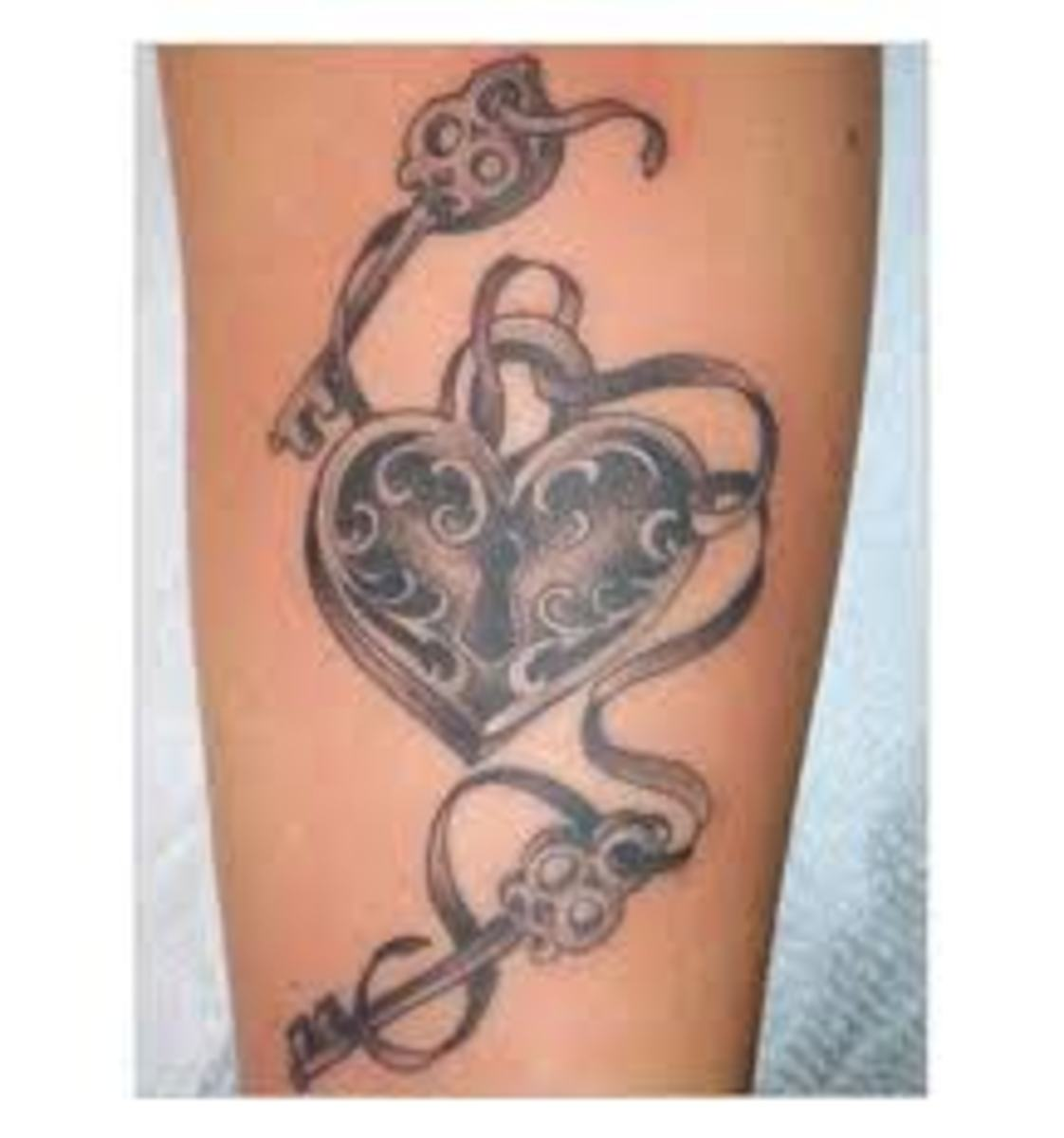 Key-and-Lock (and Key-and-Heart) Tattoo Designs And