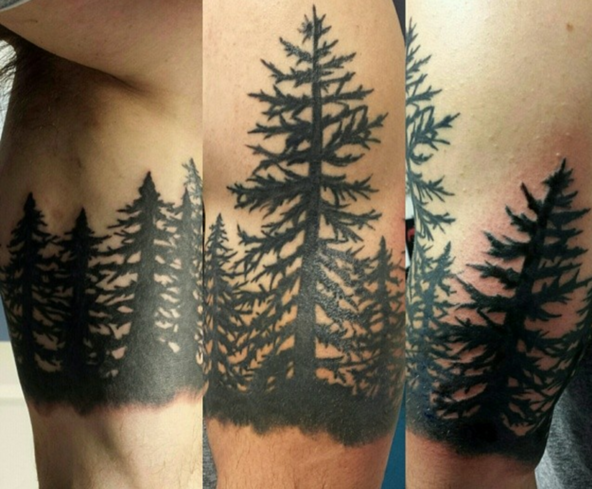 Evergreen trees tattoo sleeve pictures to pin on pinterest for Evergreen tree tattoo
