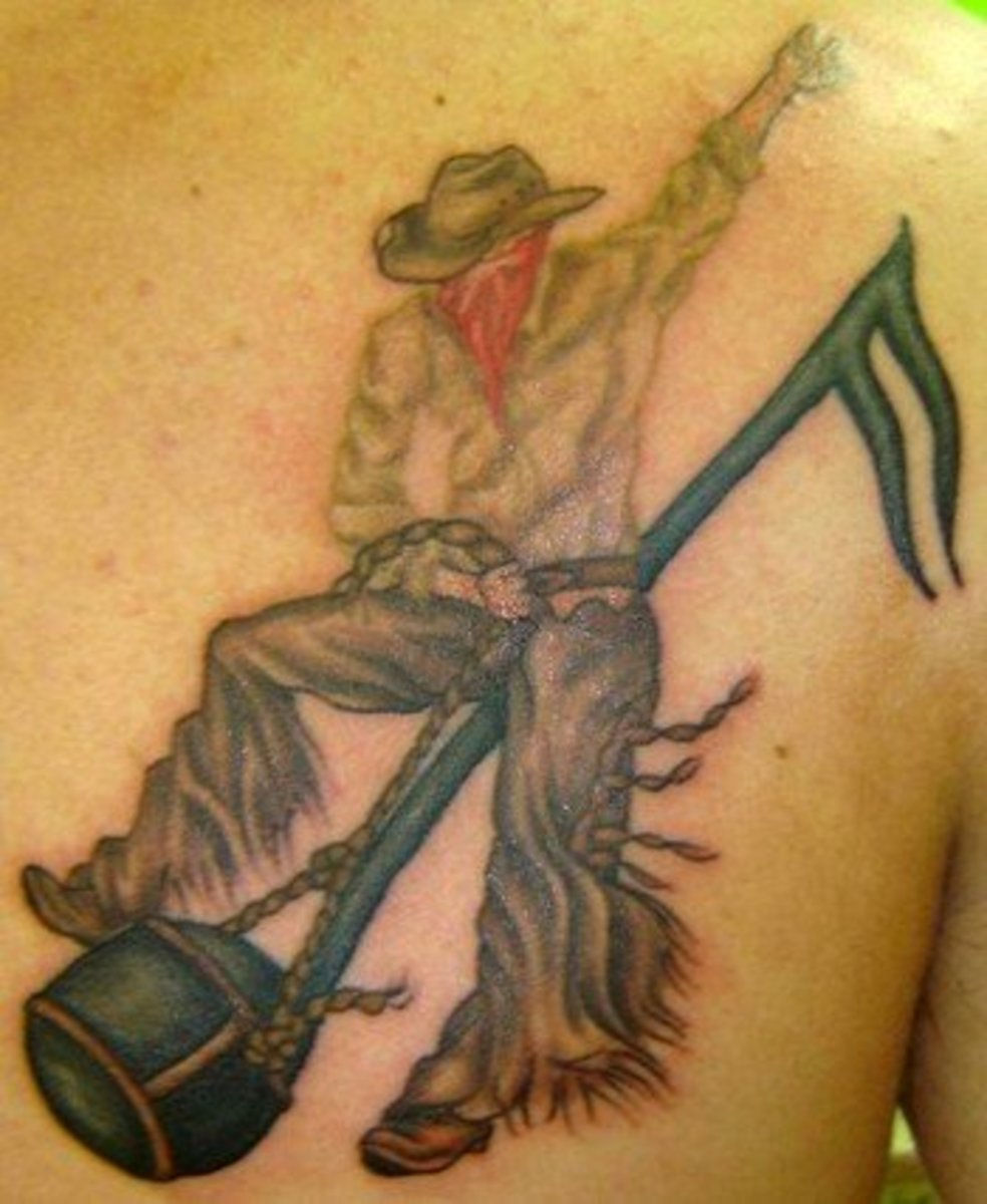Funny Cowboy Tattoo Practicing Rodeo Riding