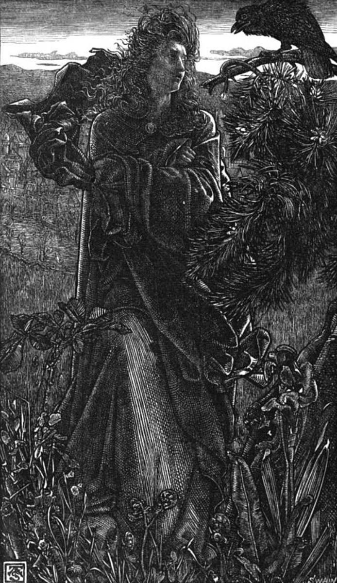 "19th-century illustration of the Old Norse poem Hrafnsmál (""raven song"") by Frederick Sandys."