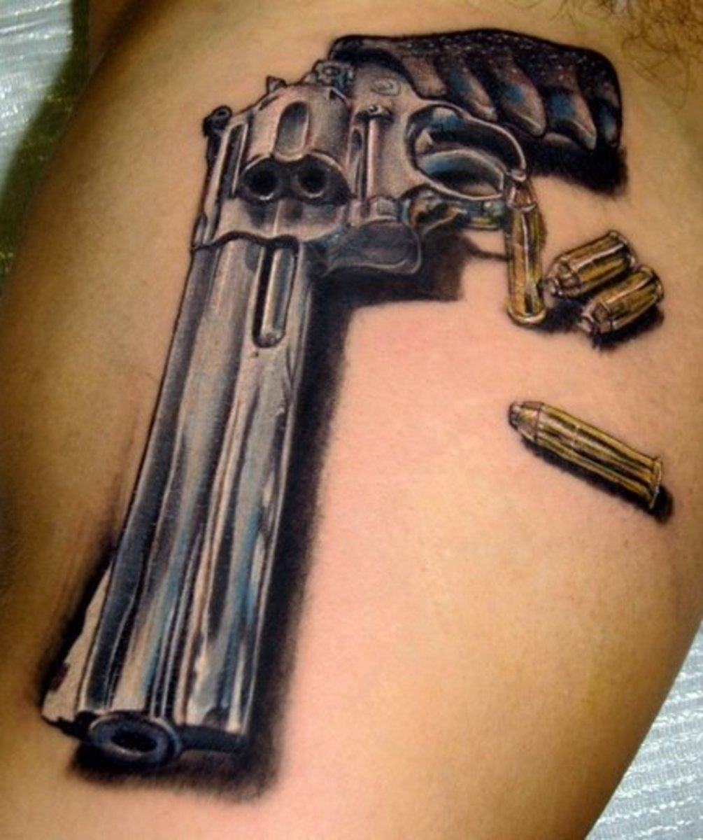 idei-dlya-tatuirovok - Пистолет и револьвер тату -  - фото