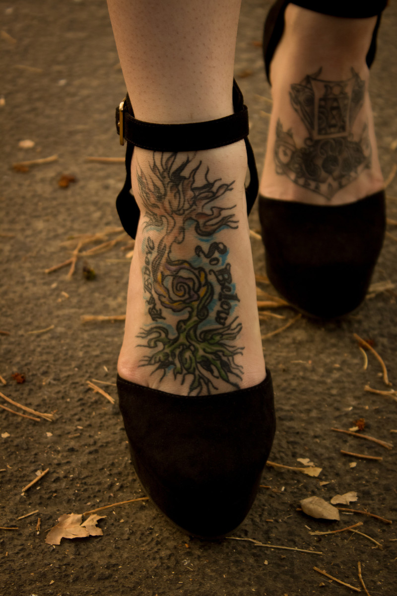 52a6db9501671 Tree on foot tattoo: As above, so below.