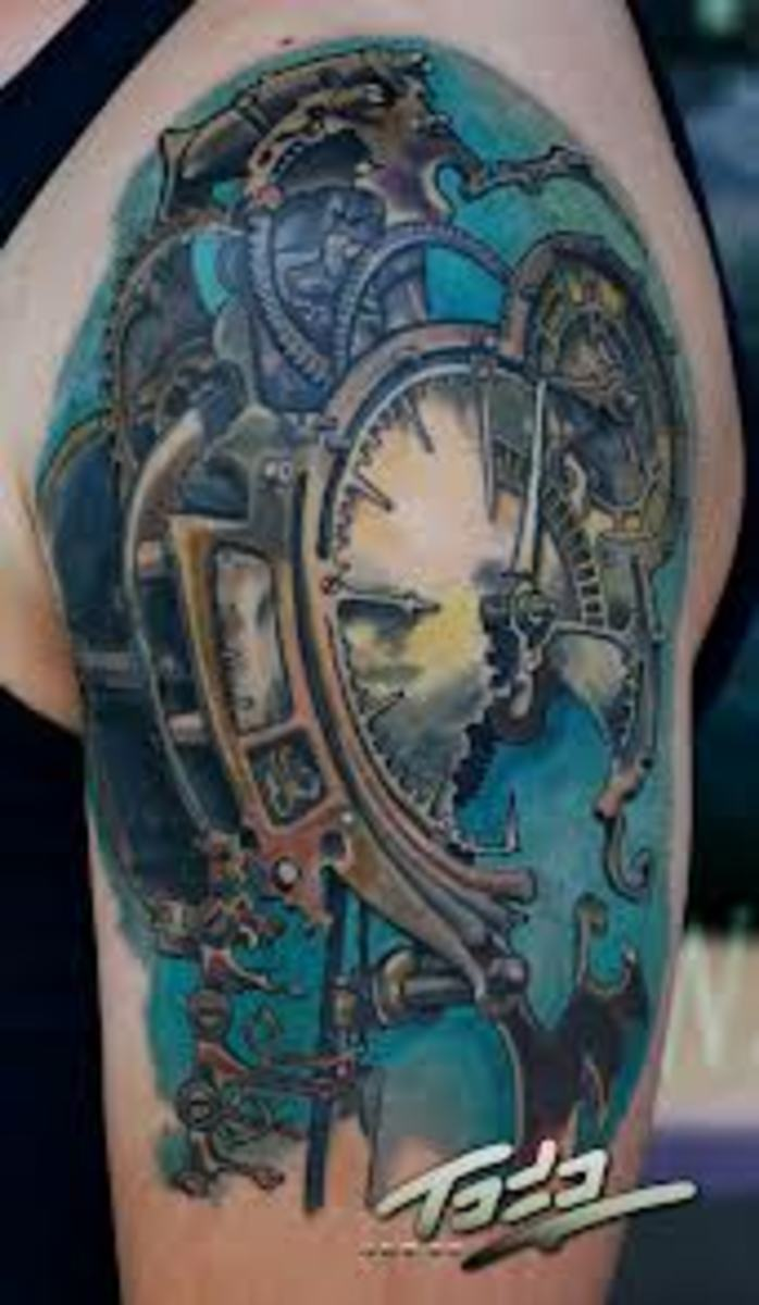 Broken clock tattoo.