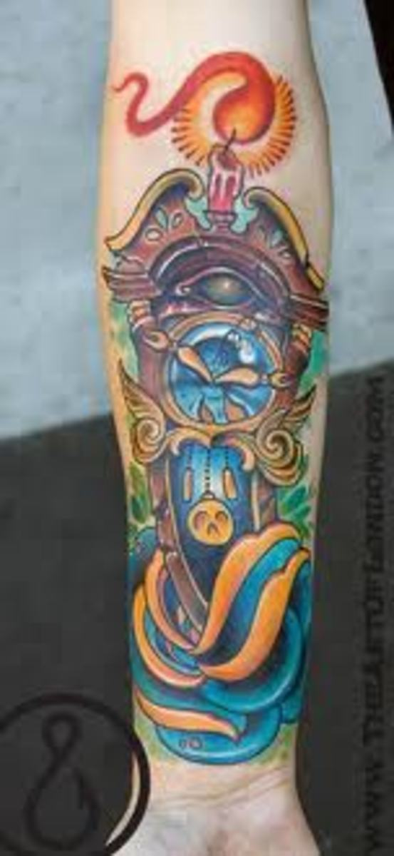 Vivid grandfather clock tattoo.