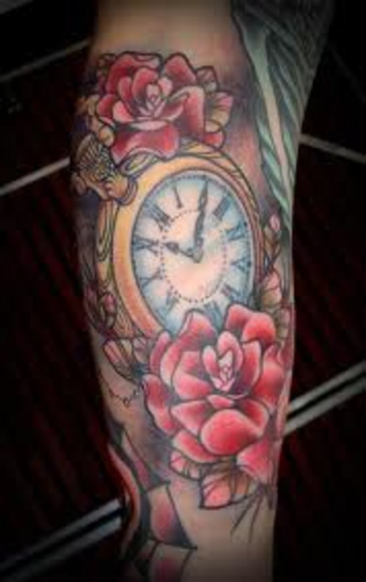 Clock tattoo with roses.