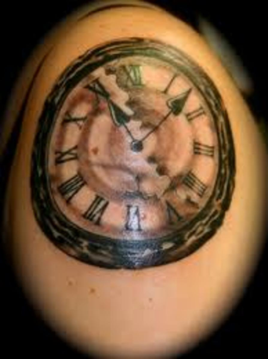 Clock tattoo.