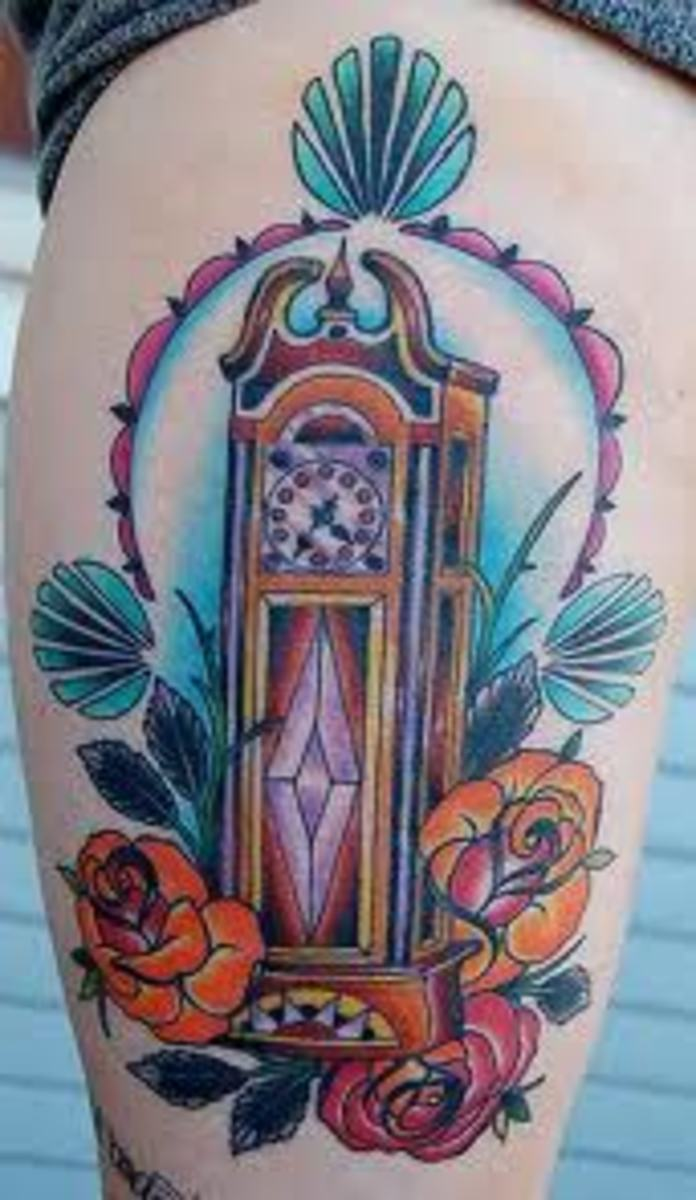 Grandfather clock tattoo with plants.