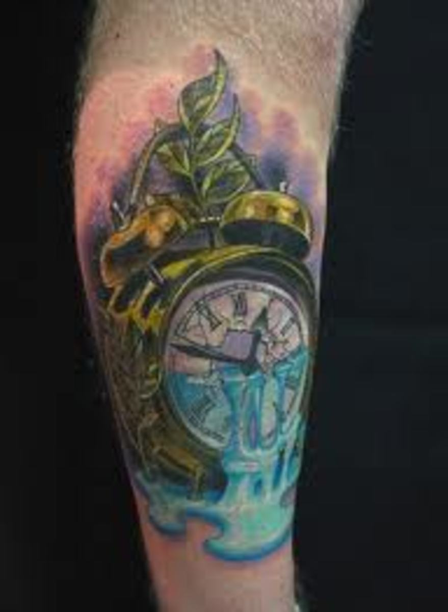 Alarm clock tattoo with pouring water.