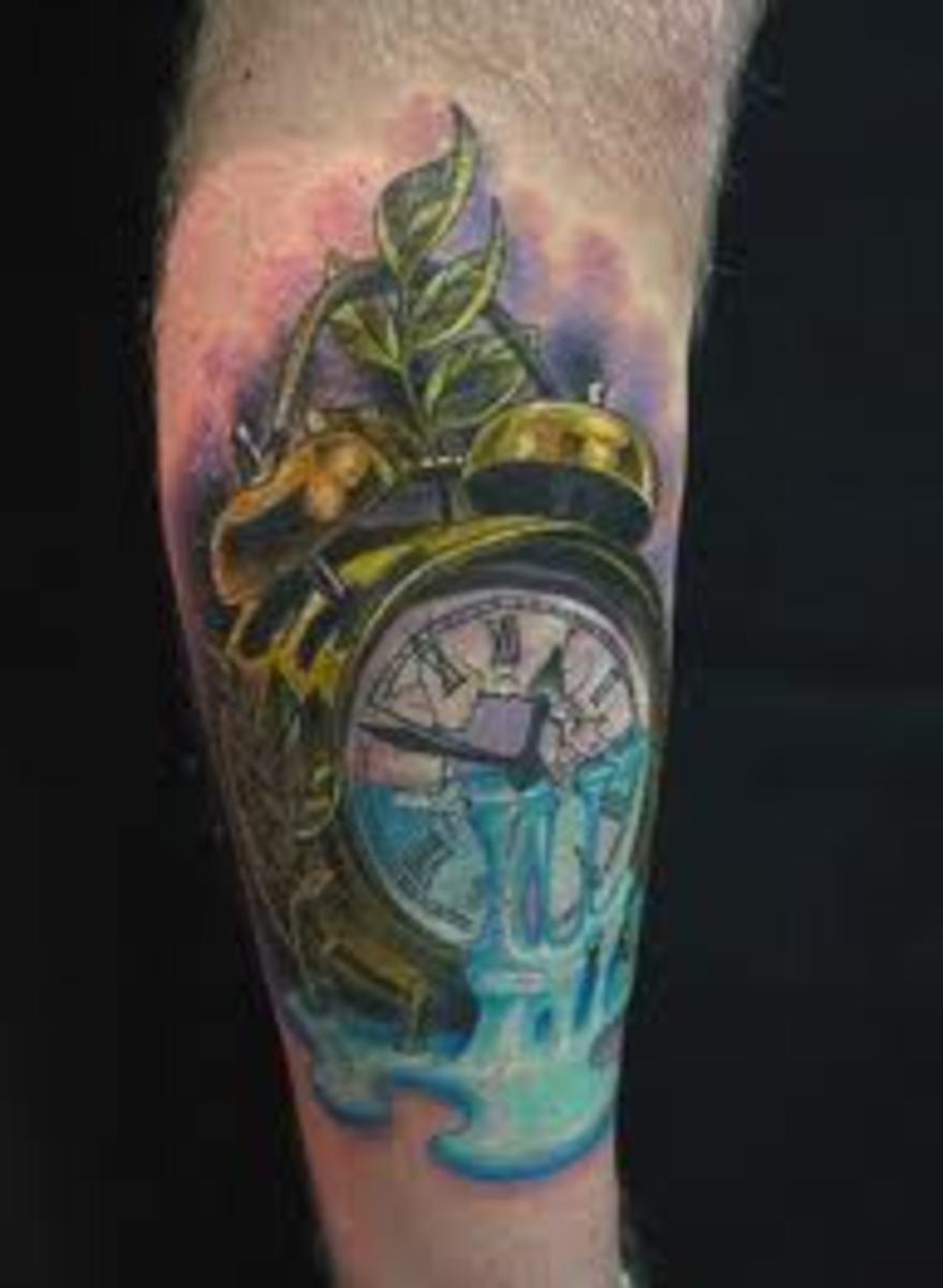 Time Clock Tattoo Designs